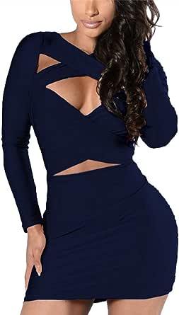 VOGRACE Women's Long Sleeve Cut Out Bandage Bodycon Party Clubwear Dress S Navy Blue