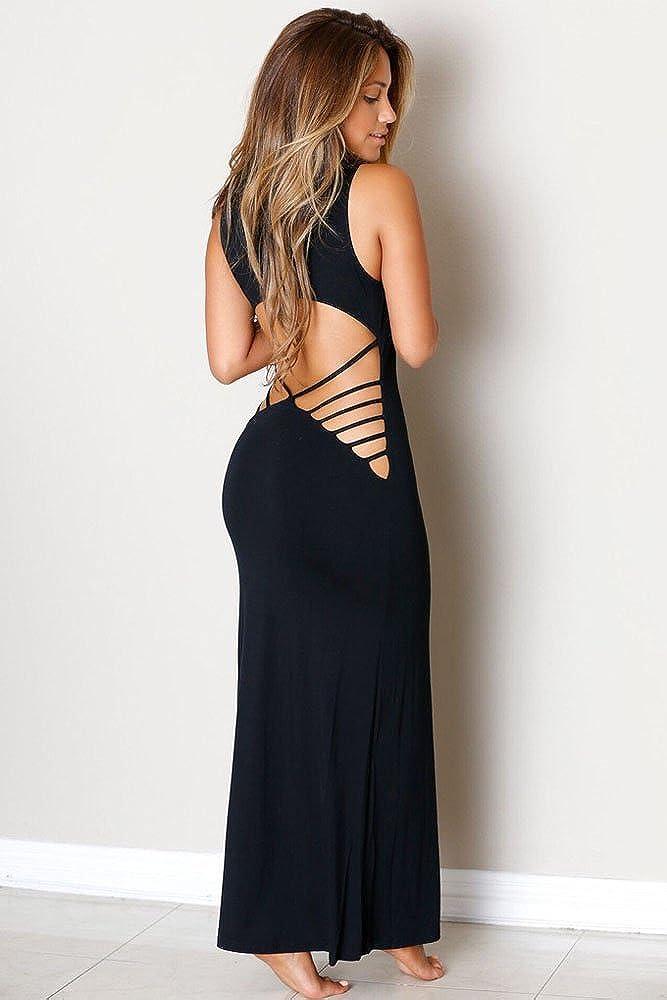 Sterne Art-elegante Lange Abendkleider Hollowed Zurück Maxi Jersey ...