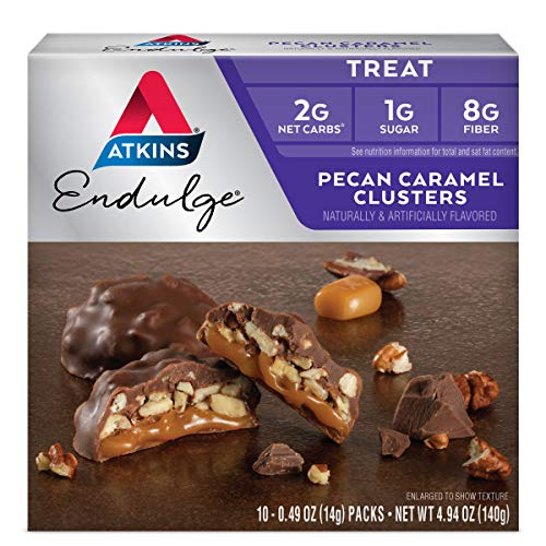 Atkins Pecan Caramel Clusters. Rich & Decadent Treats with Chocolate, Caramel, & Pecans. (10 Clustersper Box)