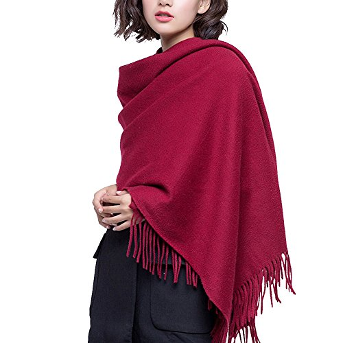 100% Lambswool Winter Scarf with Tassels for Women Oversized Scarf Wraps Wool Shawl,Wine Red,One size by FURTALK