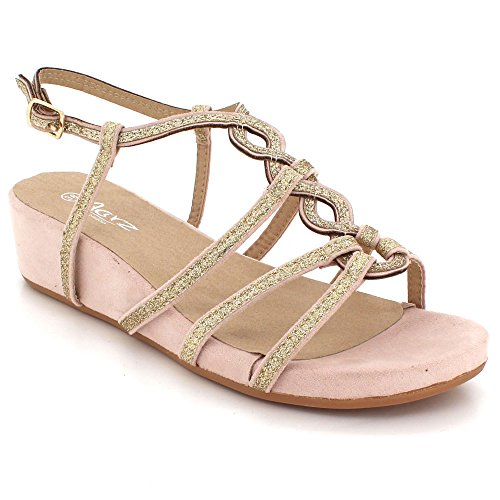 AARZ LONDON Womens Ladies Diamante Evening Wedding Party Prom Casual Wedge Heel Multi Strap Sandals Shoes Size Pink CyHDuNt