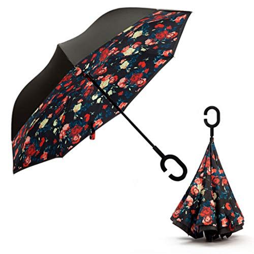 C Shaped Handle Double Layer Umbrella Anti-UV Folding Inverted Upside Down Reverse Windproof Rose Flower For Travel ()