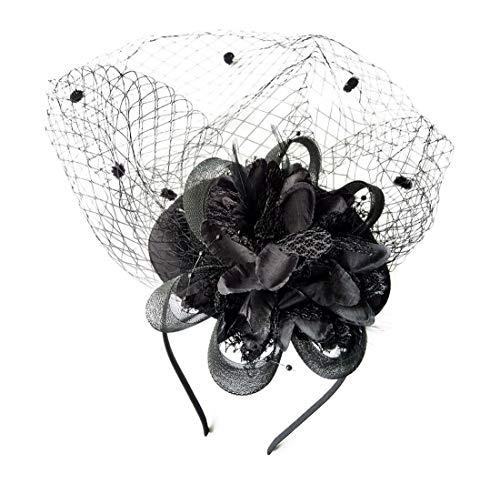 Fascinator Hats Pillbox Hat British Bowler Hat Feather Flower Veil Wedding Hat (Black )