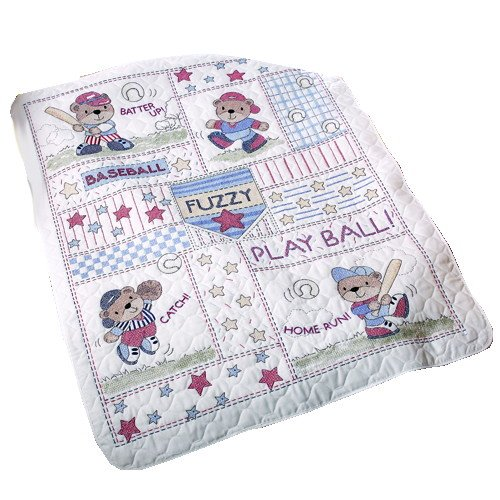 Bucilla Teddy Bear (Bucilla Stamped Cross Stitch Crib Cover Kit, 34 by 43-Inch, 45386 Baseball)