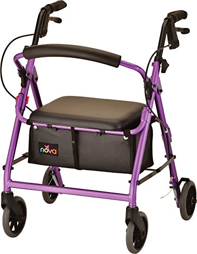 "NOVA GetGo Junior Rollator Walker (Petite Size), Rolling Walker for Height 4'10"" - 5""4"", Seat Height is 18.5"", Color Purple"