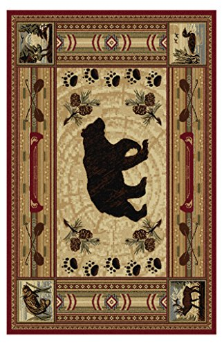 Free Universal Rugs Lodge Novelty 7 ft. 10 in. x 10 ft. 3 in. Area Rug , Brown
