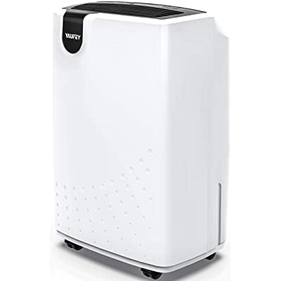 .com - yaufey 30 Pint Dehumidifier for Home Basements Bedroom Garage, Mid-Size Portable with Continuous Drain Hose Outlet and Wheel, 4 Gallons/Day Intelligent Humidity Control for Space Up to 1500 Sq Ft -
