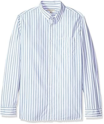 Calvin Klein Men's Long Sleeve Button Down Shirt Vertical Space Dye Stripe