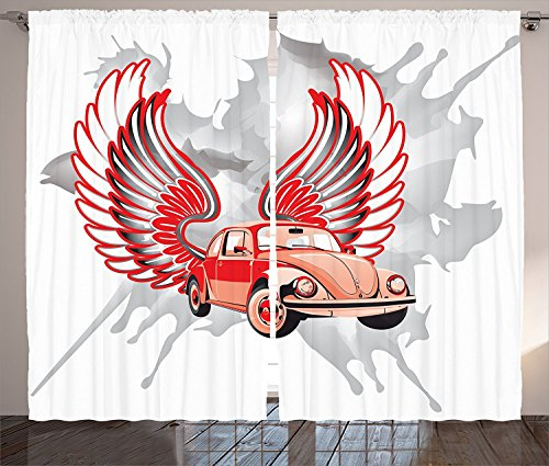 [Cars Decor Curtains Hippie Dated Beetle Car with Wings Once Sixties Freedom and Revolution Symbol Icon Boho Print Living Room Bedroom Decor 2 Panel Set Red Grey,Size:2 x 54