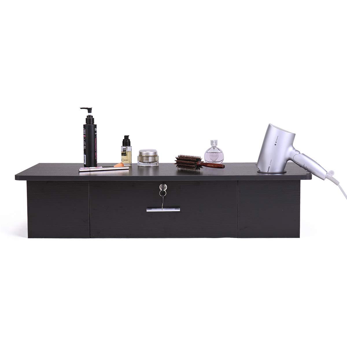 JAXPETY Black Salon Classic Wall Mount Styling Station Beauty Salon Spa Locking Cabinet