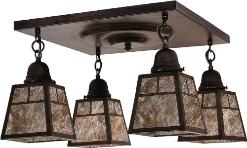 Arroyo Craftsman ACM-4TAM-BZ A-Line Collection 4-Light Semi-Flush, Bronze Finish with Almond Mica Panels