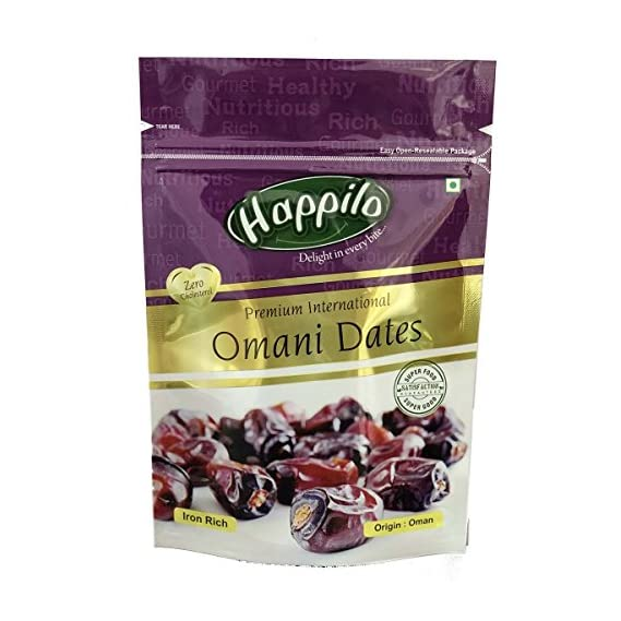 Happilo Premium International Omani Dates, 250g (Pack of 5)
