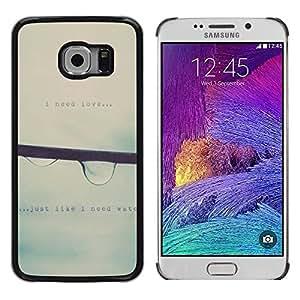 Paccase / Dura PC Caso Funda Carcasa de Protección para - Raindrop Falling Mist Grey Rain Spring Text - Samsung Galaxy S6 EDGE SM-G925