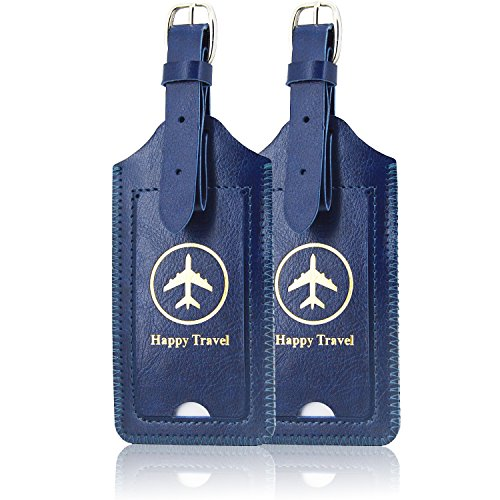 [2 Pack]Luggage Tags, ACdream Leather Case Luggage Bag Tags Travel Tags 2 Pieces Set, Dark Blue