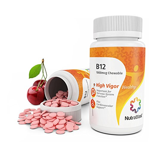 NutraBlast Vitamin B12 1000Mcg Methylcobalamin - Non-GMO - Supports Energy Levels, Brain Function, Nervous System, Energy Production and Healthy Blood Cells - Made in USA (100 Cherry Chewable Tablets)