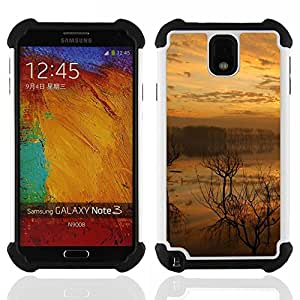GIFT CHOICE / Defensor Cubierta de protección completa Flexible TPU Silicona + Duro PC Estuche protector Cáscara Funda Caso / Combo Case for Samsung Galaxy Note 3 III N9000 N9002 N9005 // Sunset Lake //