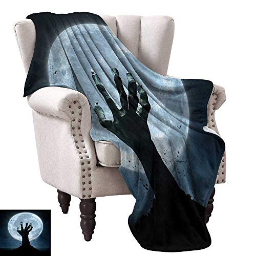 Halloween Living Room/Bedroom Warm Blanket Realistic Zombie Earth Soil Full Moon Bat Horror Story October Twilight Themed Traveling,Hiking,Camping,Full Queen,TV,Cabin 60