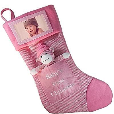 Babys First Christmas Stocking; Baby Boy Stocking with Removable Soft Toy; with Picture Frame - Personalize it with Baby's Picture!