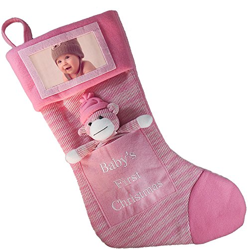 Babys First Christmas Stocking; Baby Girl Stocking with Removable Soft Toy; with Picture Frame - Personalize it with Baby's Picture! (Pink)]()
