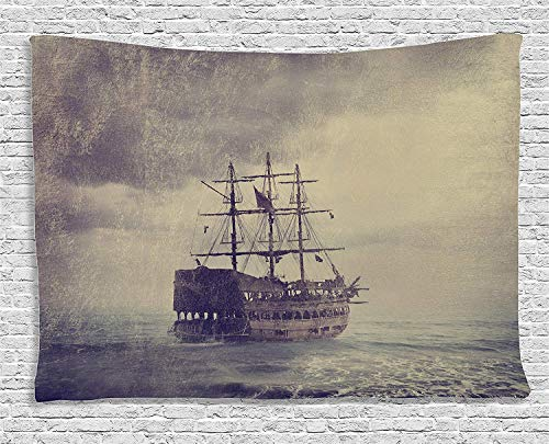 CosyBright Nautical Tapestry, Old Pirate Ship in The Sea Historical Legend Cruise Retro Voyage Grunge Style Art Bedroom Living Room Dorm Accessories Wall Hanging Tapestry, 50x60 Inches