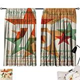 75th Birthday Room/Bedroom Worldwide Greetings in Different Languages and Stars on Retro Background 2 Panel Darkening Curtains Multicolor W55 x L39