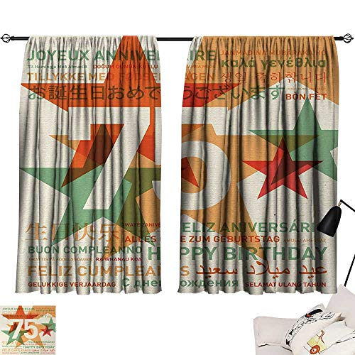 75th Birthday Room/Bedroom Worldwide Greetings in Different Languages and Stars on Retro Background 2 Panel Darkening Curtains Multicolor W55 x L39 by Jinguizi (Image #6)