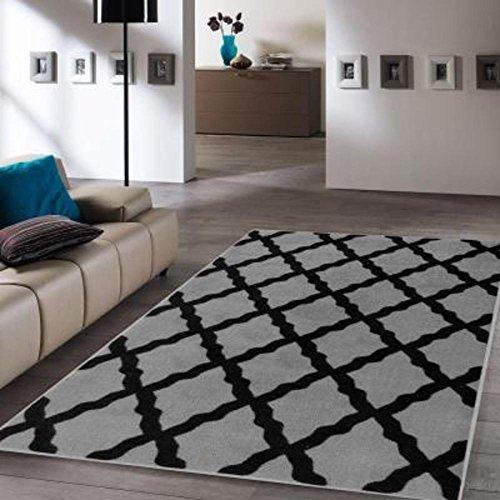 "Ottomanson Glamour Collection Contemporary Moroccan Trellis Design Kids Lattice Area Rug (Non-Slip) Kitchen and Bathroom Mat Rug, 3'3"" X 5'0"", Dark Grey"