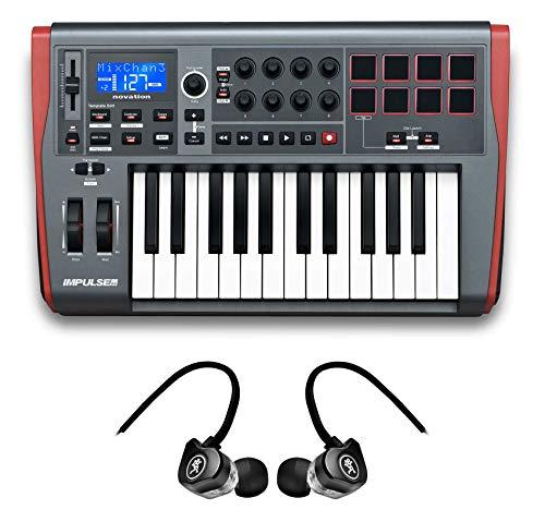 Novation IMPULSE 25 25-Key MIDI USB Keyboard Controller+Mackie Earbuds