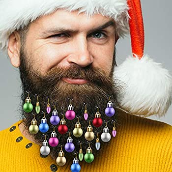 Christmas Beard.Gejoy Beard Baubles Ornaments 20 Pieces Colorful Christmas Facial Hair Ball Baubles Easy Attach Mini Mustache For Men And 4 Vibrant Ring Bells