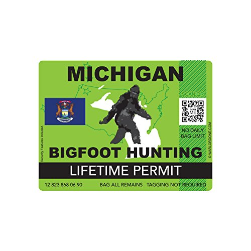 Michigan bigfoot hunting permits bigfoot gifts toys for Washington state fishing license cost
