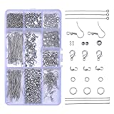 HooAMI About 490pcs Dull Silver Jewelry Finding Sets Open Jump Rings Lobster Claw Clasp Beads Earring Hook Eye Pin Calottes End Crimps
