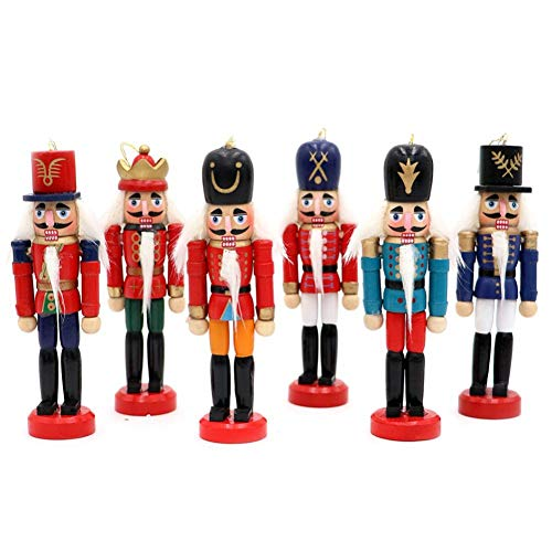 Nutcracker Tin - 6PCS 12CM Christmas Ornaments Nutcracker Puppet Tin Soldiers Doll, Children's Holiday Gifts Wood Soldiers Doll Desktop Decoration