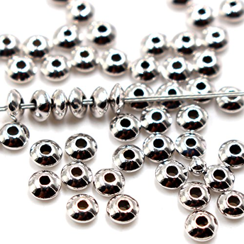 (40pcs Genuine 925 Sterling Seamless Silver Saucer Rondelle Beads Spacer for Jewelry Making Findings Platinum Plated (24mm))