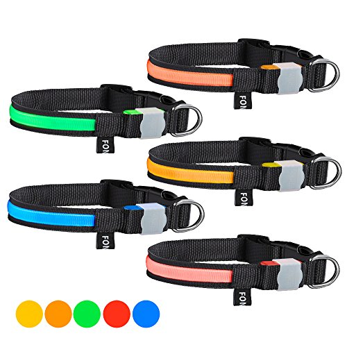 German Braces Costume (FONPOO FP5200 Safety LED Dog Collar Waterproof Glowing Pet Cat Dog Collar for Night Safety 5 Color Flashing Light Pet Safety Collar for Small Medium Large Dogs)