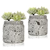 Mini Realistic Artificial Green Succulent Plants in Vintage Distressed Gray Ceramic Jar Pot, Set of 2