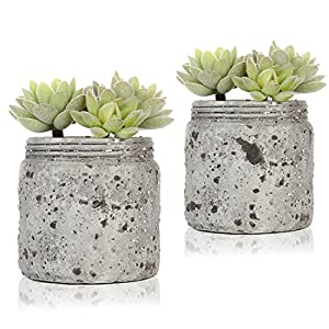 MyGift 4.7-Inch Artificial Green Succulent Plants in Distressed Gray Ceramic Jars, Set of 2 85