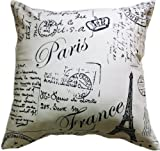 Artiwa Classic Beige 18x18 inches Canvas Cotton Sofa Bed Throw Decorative Pillow Cover with Vintage French Paris Postcard Design