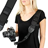USA GEAR Camera Sling Shoulder Strap with Adjustable Black Neoprene, Safety Tether, Accessory Pocket, Quick Release Buckle - Compatible with Canon, Nikon, Sony and More DSLR, Mirrorless Cameras