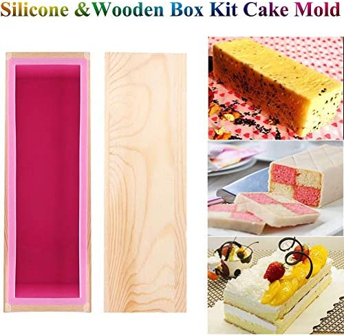 MAGT Flexible Soap Rectangular Mold Flexible Rectangular Soap Silicone Mold with Wood Box for Homemade 900g//32oz Soap Making Supplies
