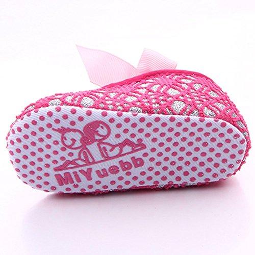 etrack-online recién nacido niña lazo suave soled zapatos de Prewalker Cuna gris gris Talla:12-18months hot pink