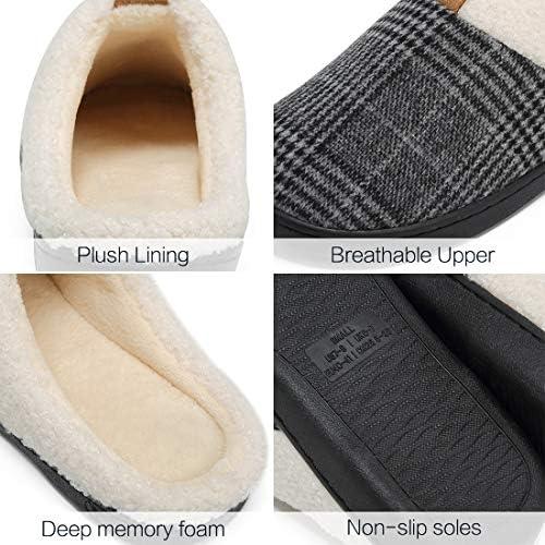 Deevike Pantuflas Zapatillas Hombre Invierno CáLido Zapatos Memory Foam Antideslizante Zapatillas de Estar por Casa