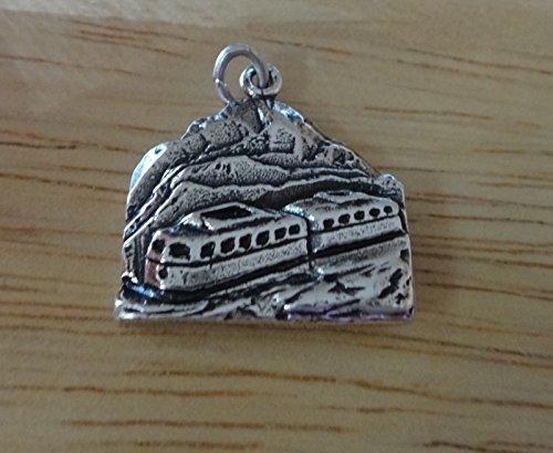 (Pendant Jewelry Making Sterling Silver 20x20mm 4gram Colorado Pike's Peak Cog Train Charm)
