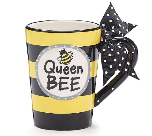 - Whimsical Queen Bee 13 oz Coffee Mug with Polka Dot Bow on Handle Gift Boxed