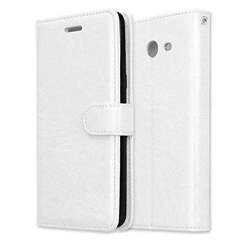 JIALUN-Personality teléfono shell Funda de cuero magnética de la cartera de la PU del diseño de la hebilla magnética, [ranuras de 3 tarjetas] Cubierta de la caja del soporte del tirón horizontal para  White