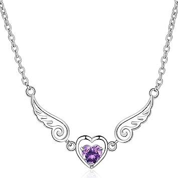 fe474e4b2b0d Joyas para mujeres Collar de mujer Cristal Brillante Alas de ángel Amor  Corazón Colgante de plata
