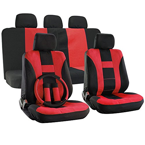 OxGord H Stripe Universal Fit Airbag Compatible 17pc Seat Covers (Red Black) (Cayman Stripe)