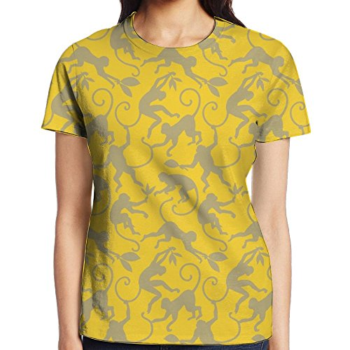 Monkey Bamboo Leaves Full Print Female Unique Tee Shirt Gym Undershirt