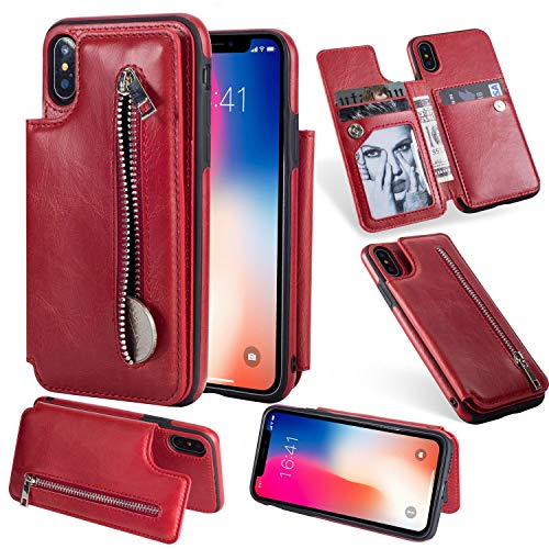 - Retro PU Flip Leather Case for iPhone X 6 6s 7 8 Plus Multi Card Holders Case Cover for iPhone 8 Zipper Wallet Phone Shells,06,for iPhone 8