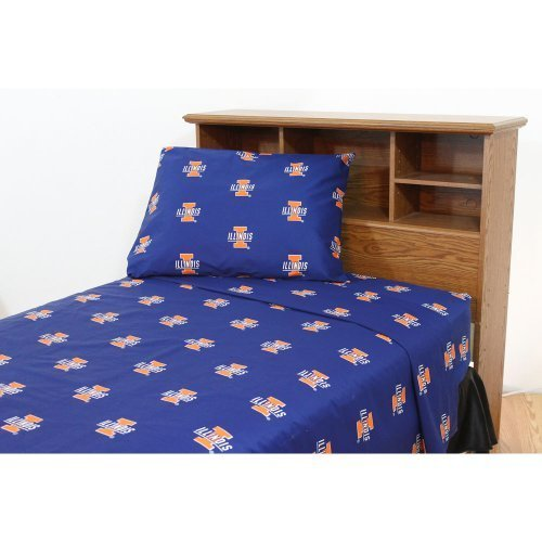 College Covers Illinois Fighting Illini Printed Sheet Set - Twin X-Large - Solid by College Covers
