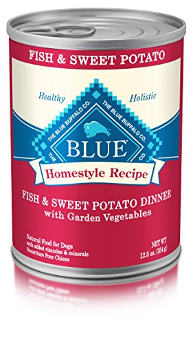 - Blue Buffalo Homestyle Recipe Natural Adult Wet Dog Food, Fish & Sweet Potato 12.5-oz can (Pack of 12)